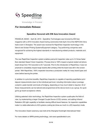 Speedline Honored with EM Asia Innovation Award