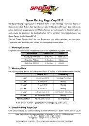 wichtigsten Infos und Regeln - Speer Racing