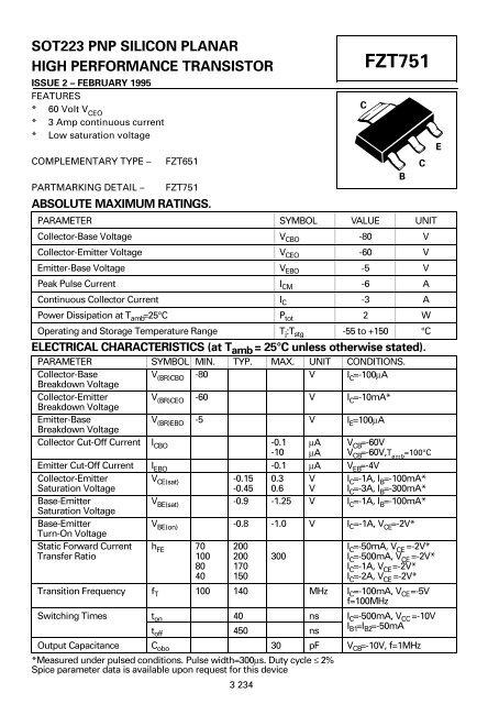 PNP SOT-223 TRANSISTOR - FZT751 DIODES INC