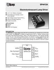 SP4412A Electroluminescent Lamp Driver - Datasheet Catalog