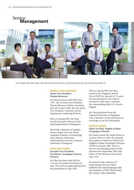 Management Senior Singapore Press Holdings