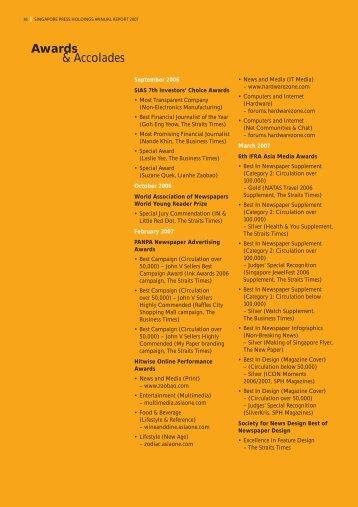 Awards & Accolades - Singapore Press Holdings