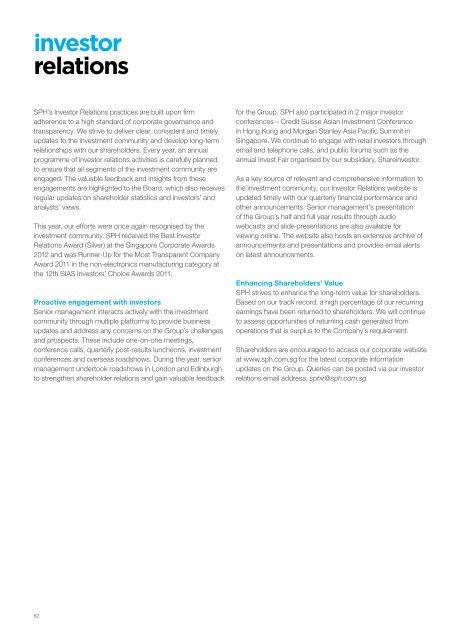 Morgan Stanley Investor Relations >> Investor Relations P62 Singapore Press Holdings