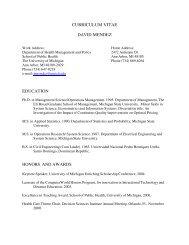 Curriculum vitae david mendez - University of Michigan School of ...