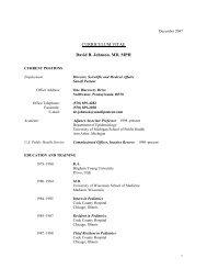 CURRICULUM VITAE David R. Johnson, MD, MPH - University of ...