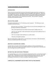 STUDENT RESPONSIBILITIES FOR INTERNSHIPS ...