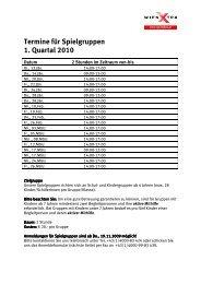 Termine Spielgruppen 1. Quartal 2010 - wienXtra-spielebox