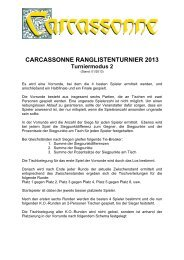 CARCASSONNE RANGLISTENTURNIER 2013 Turniermodus 2