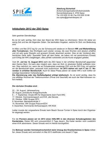 """Infobulletin """"Sommer 2012"""" der Zivilschutzorganisation ... - in Spiez"""