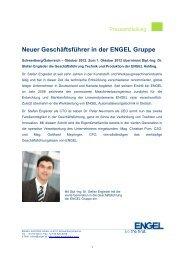 Neuer Geschäftsführer in der ENGEL Gruppe - Engel Austria