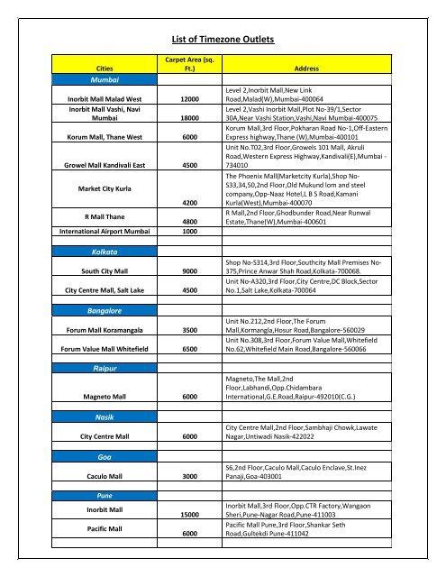 List of Timezone Outlets - Mydala com