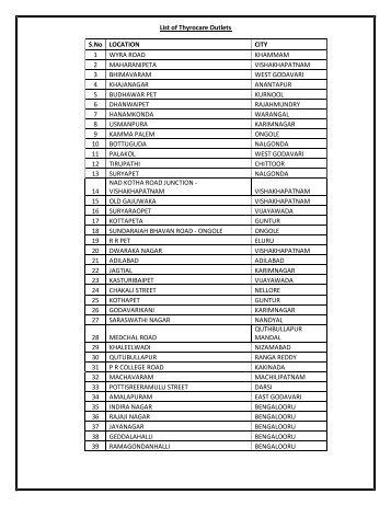 List of Thyrocare Outlets S.No LOCATION CITY 1 ... - Mydala.com