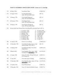 PART II. COLERIDGE ASSOCIATION ITEMS / Letters to S. T. ...