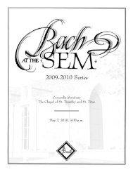 Bach at the Sem | May 2010 - Concordia Seminary