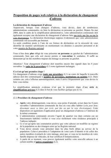 C formulaire changement d 39 adresse bernex for Declaration de changement d adresse