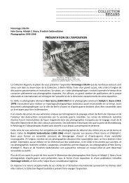 PRÉSENTATION DE L'EXPOSITION - Collection Regard