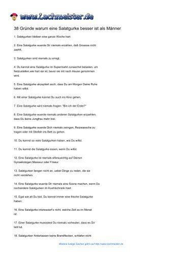 38 Gründe warum eine Salatgurke besser ist als Männer - Lachmeister