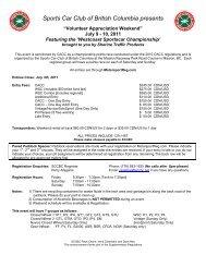 Sports Car Club of British Columbia presents - sccbc