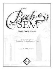 Bach at the Sem | April 2009 - Concordia Seminary