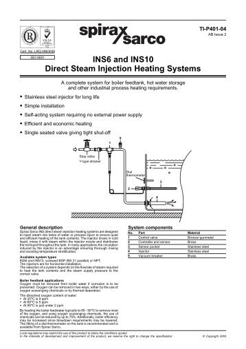 INS Direct Steam Injection Heating Systems - Spirax Sarco
