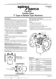 Fig B34 Carbon Steel 'T' Type or Basket Type Strainers - Spirax Sarco