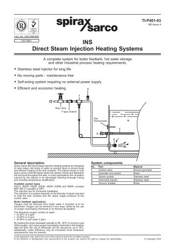 Heating Water by Direct Steam Injection - Chemical Processing