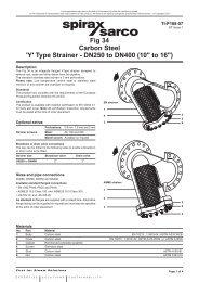Fig 34 Carbon Steel 'Y' Type Strainer - DN250 to ... - Spirax Sarco