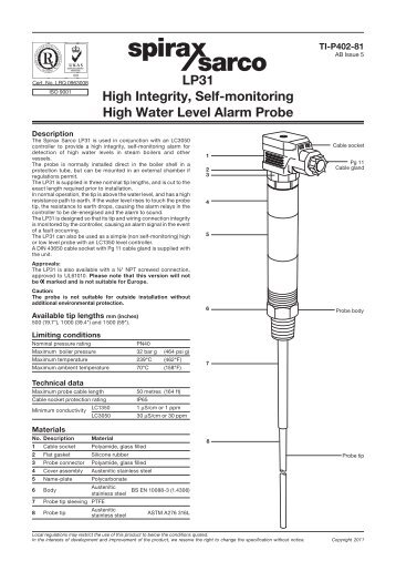 Spirax Sarco SA123 Installation And Maintenance Instructions Manual