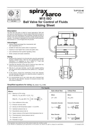 m15 iso ball valve for control of fluids - sizing sheet - Spirax Sarco