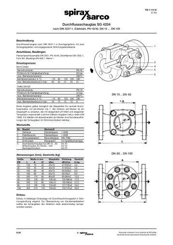 Durchflussschauglas SG 4204, Edelstahl, PN16 ... - Spirax Sarco