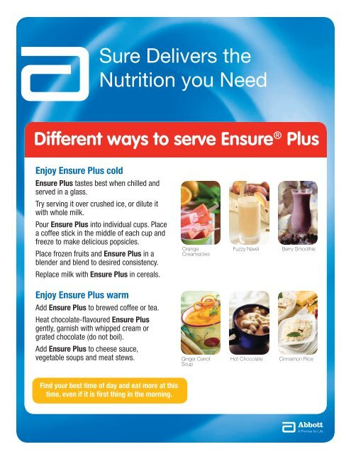Different ways to serve Ensure - Abbott Nutrition Canada