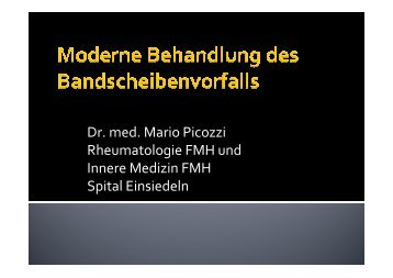 Dr. med. Mario Picozzi Rheumatologie FMH und ... - Spital Einsiedeln