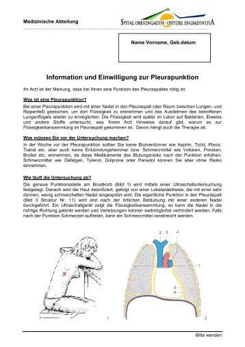 Information und Einwilligung zur Pleurapunktion - Spital Oberengadin