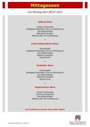 Menuplan Mittagessen 08.07. - 14.07.2013 - Spital Oberengadin