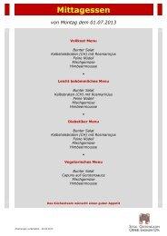 Menuplan Mittagessen 01.07. - 07.07.2013 - Spital Oberengadin