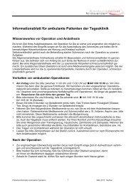 Patienteninformation ambulante Eingriffe - Kantonsspital Nidwalden