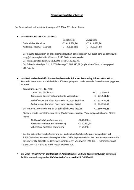 Gemeinderatsbeschlüsse - Spital am Semmering