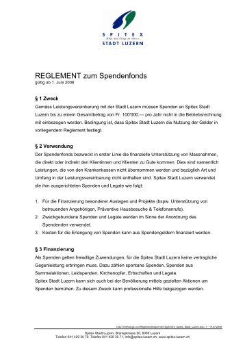 REGLEMENT zum Spendenfonds - Spitex Luzern