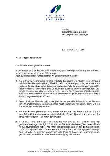 Begleitbrief zur Rechnung - Spitex Luzern