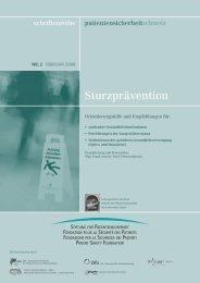 Schriftenreihe Nr. 2 - Sturzprävention - Stiftung für Patientensicherheit