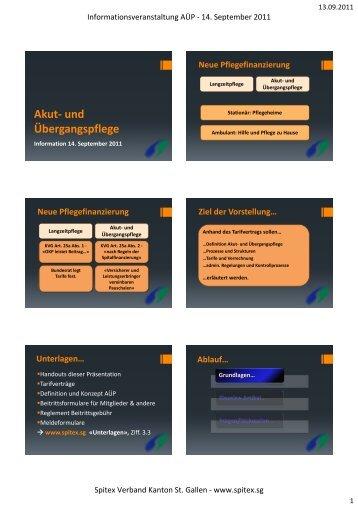 Akut- und Übergangspflege - Spitex Verband Kt. St. Gallen