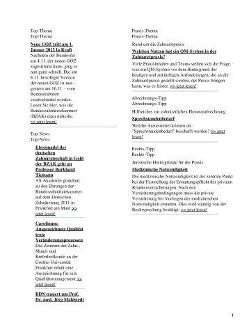 Top-Thema Top-Thema Neue GOZ tritt am 1. Januar 2012 in ... - Spitta