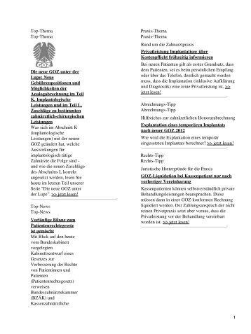Top-Thema Top-Thema Die neue GOZ unter der Lupe: Neue ...