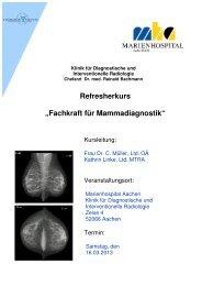 """Refresherkurs """"Fachkraft für Mammadiagnostik"""" - VMTB"""