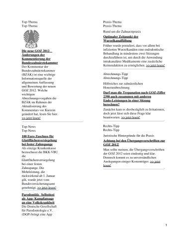 Top-Thema Top-Thema Die neue GOZ 2012 Änderungen der ...