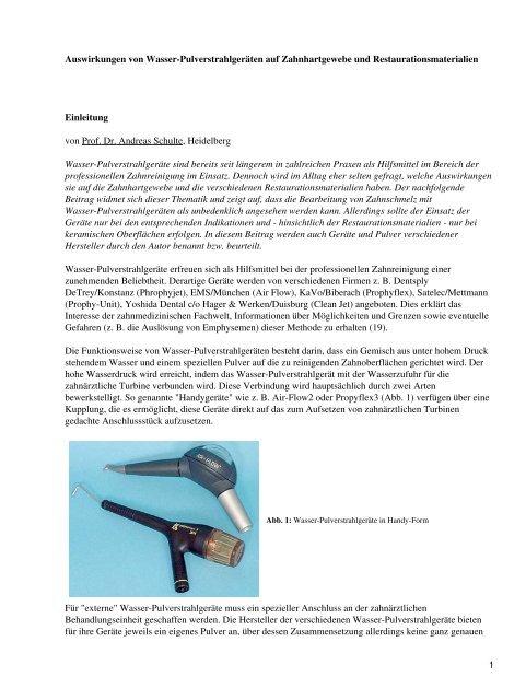 Auswirkungen von Wasser-Pulverstrahlgeräten auf ... - Spitta