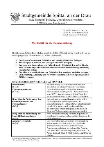 Baubewilligungsansuchen - Erforderliche Unterlagen - Infoblatt 2013