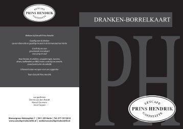 DRANKEN-BORRELKAART - Eetcafe Prins Hendrik