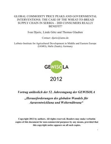 Herausforderungen des globalen Wandels für Agrarentwicklung und ...