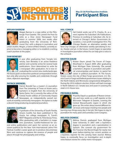 Participant Bios - Society of Professional Journalists